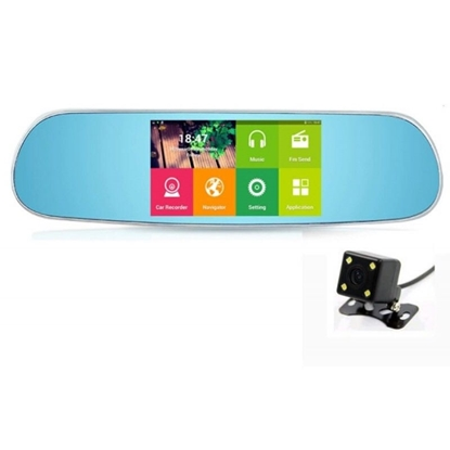Picture of Car mirror with Android navigation screen