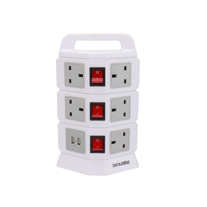 Picture of Datazone Vertical Power Strip 3 layers, 8 outlets with 2 USB ports, White